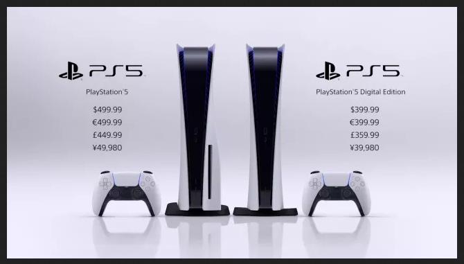 PS5 Digital Vs disc prices